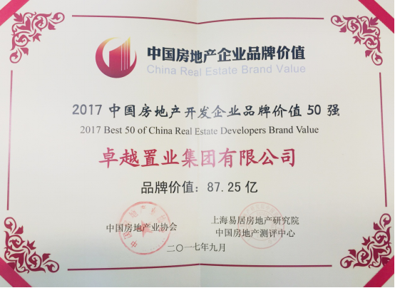 """卓越集团获评""""中国房企品牌价值50强"""" 310.png"""